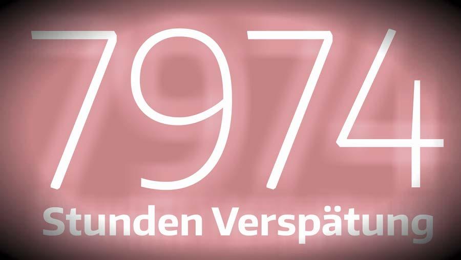 Hier ist es visualisiert: Eine Zahl brennt sich ein. 7974. So viele Stunden häuft die Deutsche Bahn pro Tag an Verspätung an.