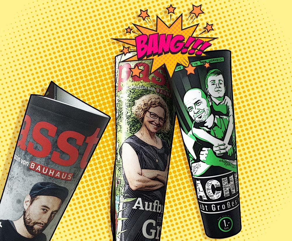 Die Cover von Passt! (Bauhaus) und Macher (Hornbach) im Vergleich. Duell um das bessere Content Marketing.