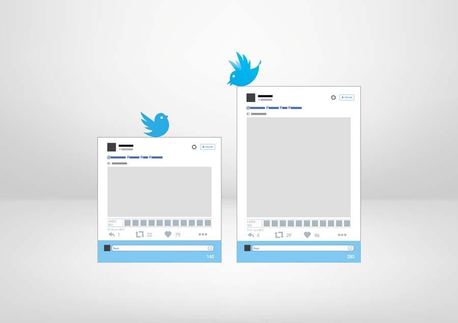 Zwei Twitter-Fenster im Vergleich: Twitter testet, die Zeichenzahl von 140 auf 280 zu erhöhen. Anbieten würde sich das für Antworten.
