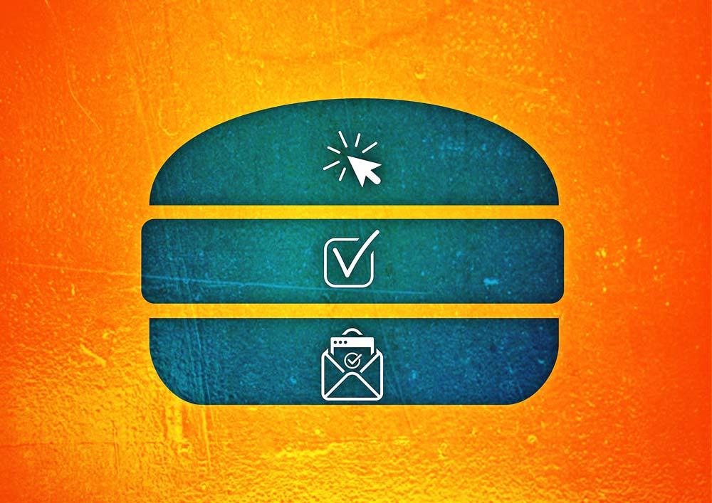 Dieser Burger mit Online-Symbolik symbolisiert, dass die Newsletter-Anmeldung nicht im Burger-Menü einer Website versteckt sein sollte.