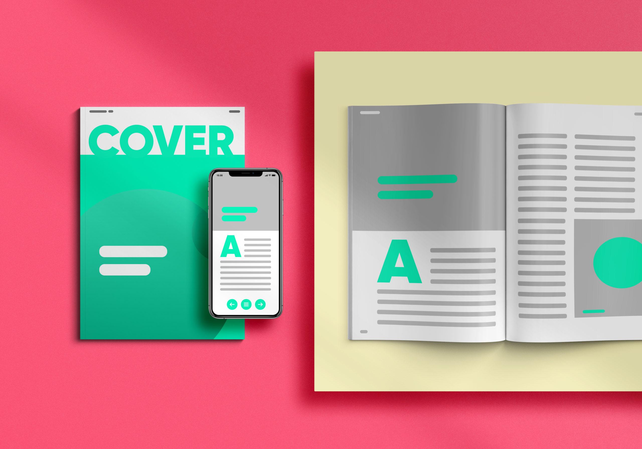 Ein Printmagazin und eine digitale Version des gleichen Magazins auf dem Smartphone.