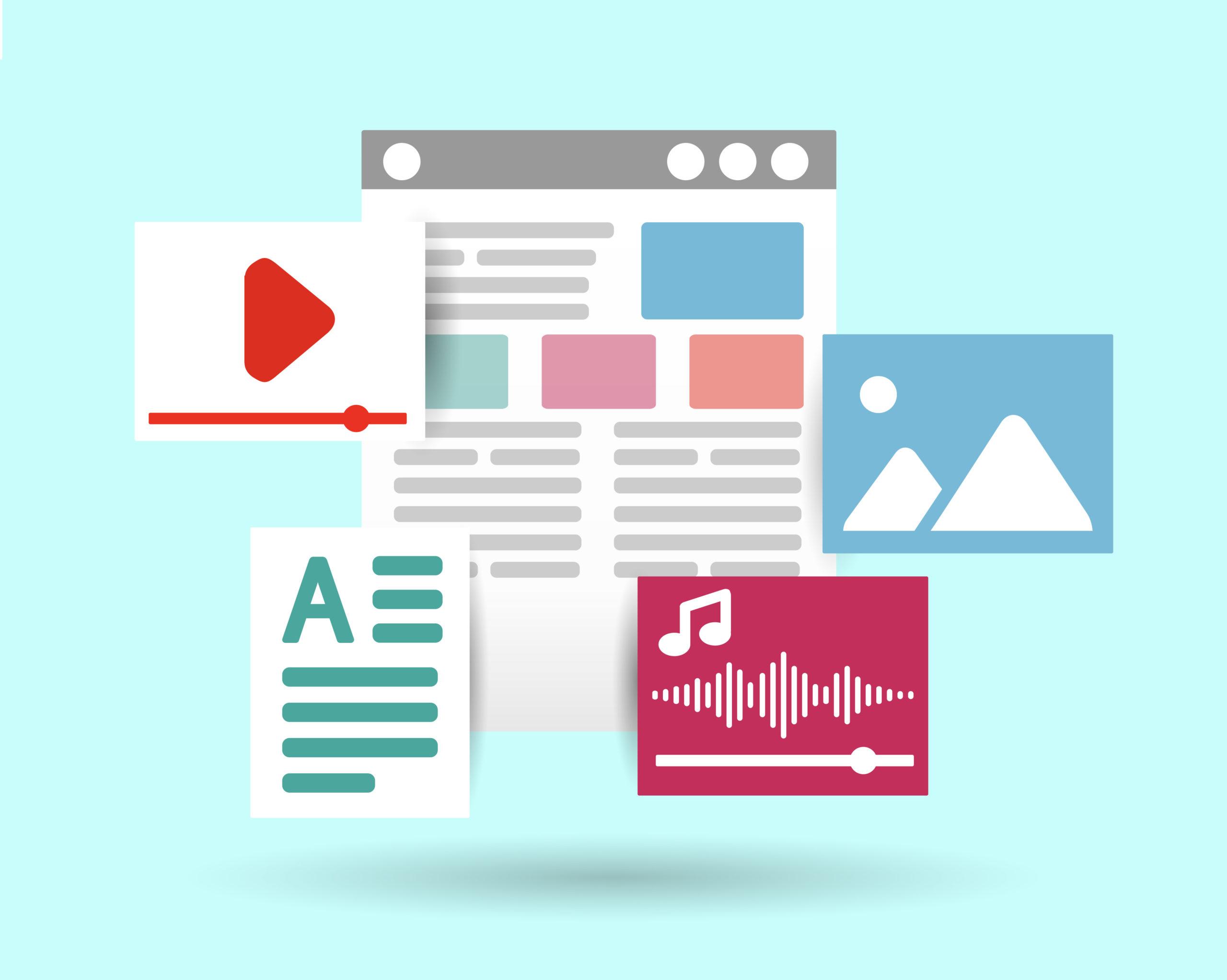 Darstellung von digitalen Darstellungsformen für Storytelling im Internet: Video, Text, Audio und Bild/Foto.