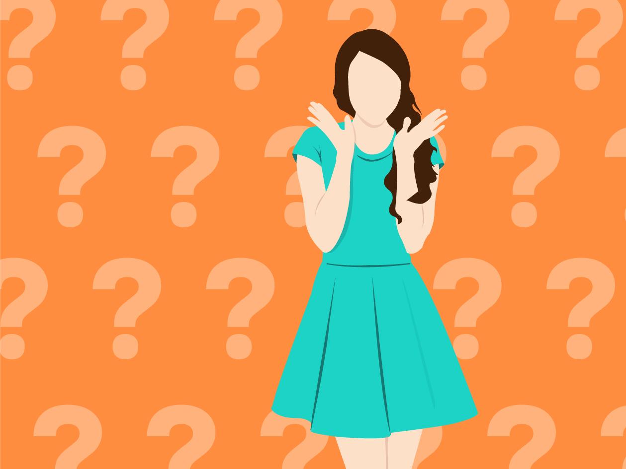 """Illustration einer Frau mit türkis/türkisem Kleid zum Thema """"Wie werden Farben geschrieben"""""""